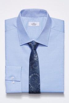 Chemise texturée avec cravate à motif cachemire