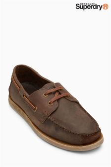 Superdry Brown Leather Deck Shoe
