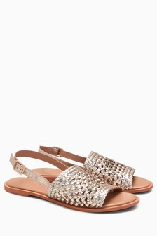 Leather Weave Slingbacks