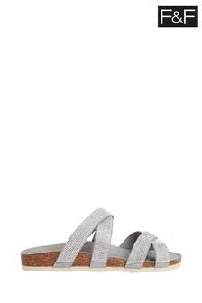F&F Silver Embellished Footbed Sandal