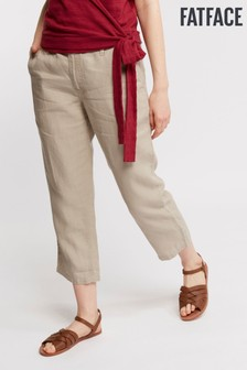 FatFace Natural Linen Crop Trouser