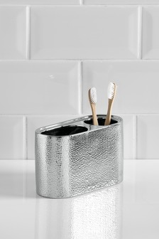 Ceramic Hammered Toothbrush Tidy