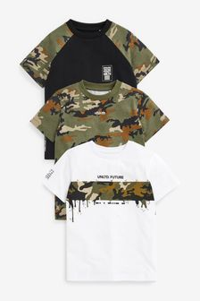 3 Pack Camo Colourblock T-Shirts (3-16yrs)
