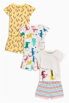 Animal Printed Short Pyjamas Three Pack (9mths-8yrs)
