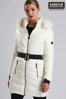 Barbour® International Premium White Geneva Quilt Coat