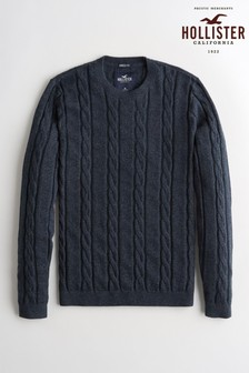 Hollister Navy Cable Crew Knit Jumper