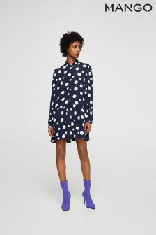 Mango Navy Polka Dot Dress