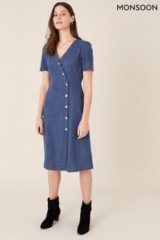 Monsoon Blue Denim Wrap Midi Dress