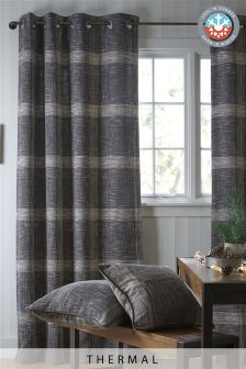 Charcoal Thermal Astley Check Eyelet Curtains
