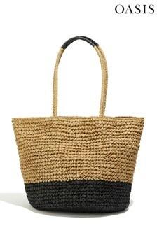 Oasis Multi Black Colourblock Straw Tote Bag