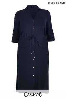 River Island Curve Blue Utility Midi Shirt Dress