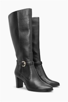 Workwear Block Heel Long Boots