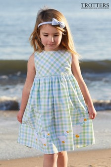 Trotters London Green Jemima Gingham Dress
