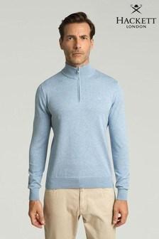 Hackett Cotton Silk Half Zip Knitwear Jumper