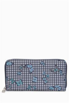 Butterfly Print Zip Around Purse