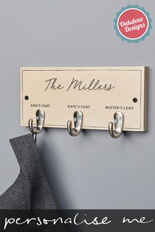 Personalised Three Hook Family Coat Hook by Oakdene Designs