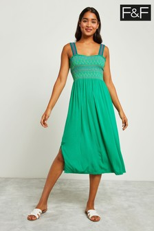 F&F Green Shirred Dress