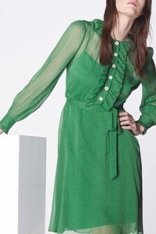 L.K.Bennett Green Honor Ruffle Dress