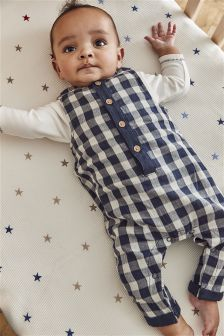 Gingham Dungarees (0mths-2yrs)