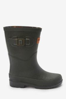 Check Lining Buckle Wellies