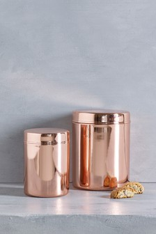 Rose Gold Effect Storage Tin