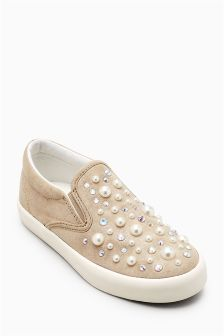 Pearl Effect Stud Skater Shoes (Older)