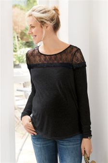 Maternity Lace Trim Long Sleeve Top