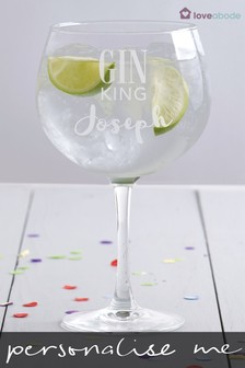 Personalised Gin King Balloon Glass by Loveabode