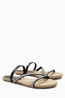 Forever Comfort Asymmetric Diamanté Sandals