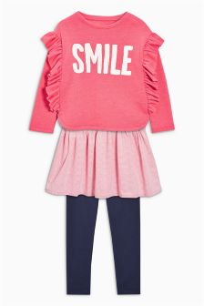 Ruffle Sweat Dress And Leggings Set (3-16yrs)