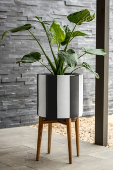 Stripe Ceramic Planter On Stand