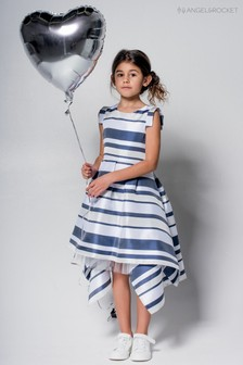 Niebieska sukienka z obszyciem, kwadratowy krój Angel & Rocket