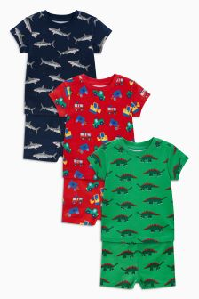 Dinosaur/Shark Snuggle Fit Pyjamas Three Pack (9mths-8yrs)