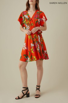 Karen Millen Red Botanical Print Collection On Silk Dress