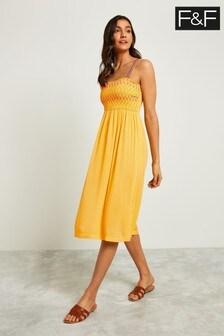 F&F Yellow Shirred Dress
