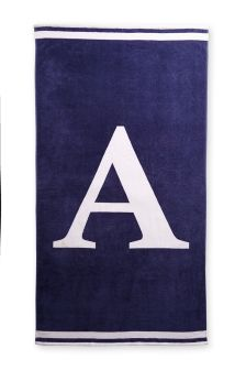 Navy/White Monogram Beach Towel
