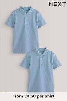 Kids Boys Girls Unisex Blue School PE Polo Shirt Sport age 4//5 5//6 Airtex cotton