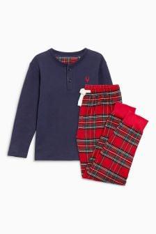 Pyjama met joggingbroek en Schotse ruit (5-16 jr)