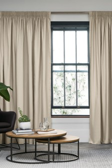 Cotton Pencil Pleat Lined Curtains