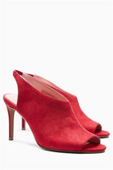 Peep Toe Slingback Shoe Boots