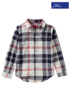 Joules Cream Sark Long Sleeve Check Shirt