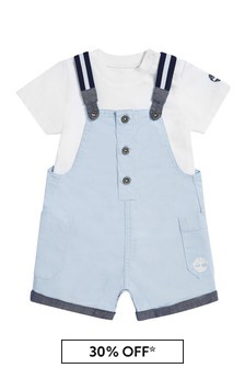 Timberland Baby Blue Cotton Dungarees
