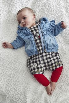 Gingham Dungarees, Bodysuit And Tights Set (0mths-2yrs)