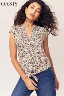 Oasis Multi White Animal Tie Front Shirt