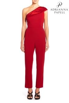 Adrianna Papell Red Knit Crepe One Shoulder Jumpsuit
