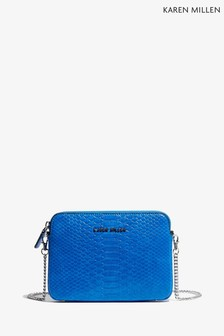 Karen Millen Blue PU Snake Effect Bag