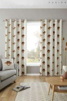 Fusion Natural Highland Cow Eyelet Curtains