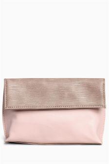Nude Foldover Make Up Bag