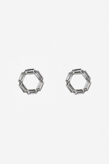 Baguette Stone Circle Stud Earrings