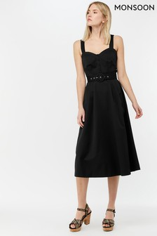 Monsoon Ladies Black Fae Fit & Flare Midi Dress